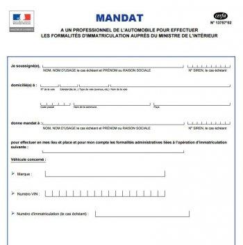 Mandat Immatriculation Formulaire Cerfa Instructions