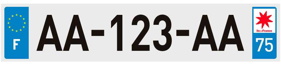 plaques d 39 immatriculation paris 75 sur. Black Bedroom Furniture Sets. Home Design Ideas