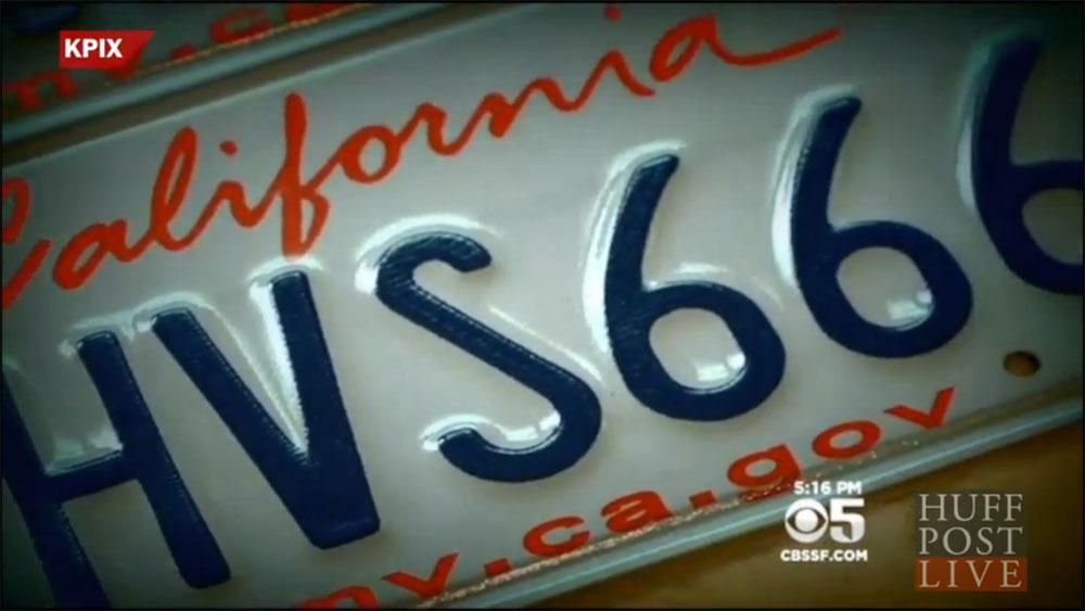 plaque de Californie avec 666