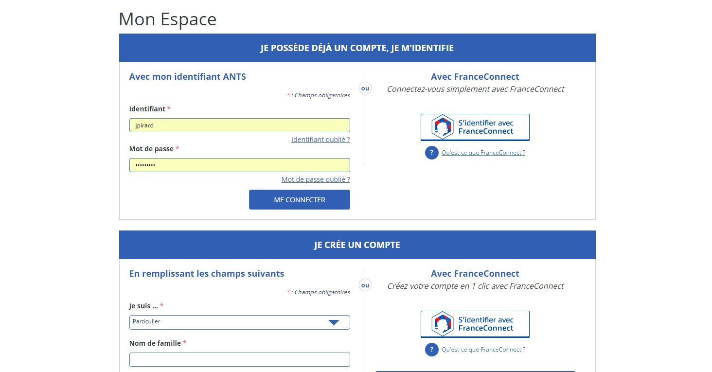 quel site pour carte grise France Connect : Comment ouvrir un compte ? Pour inscription ANTS