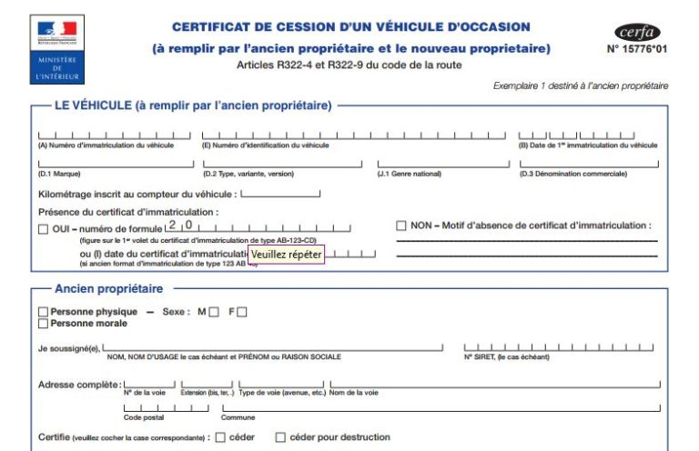 Cerfa 15776*01, certificat de cession officiel